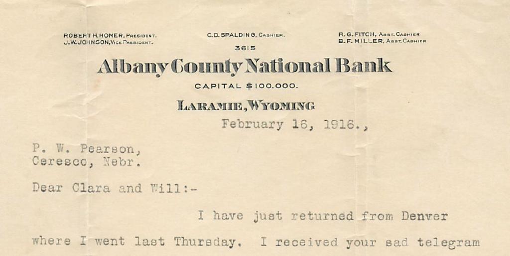 J.W. Johnson letter, 1916
