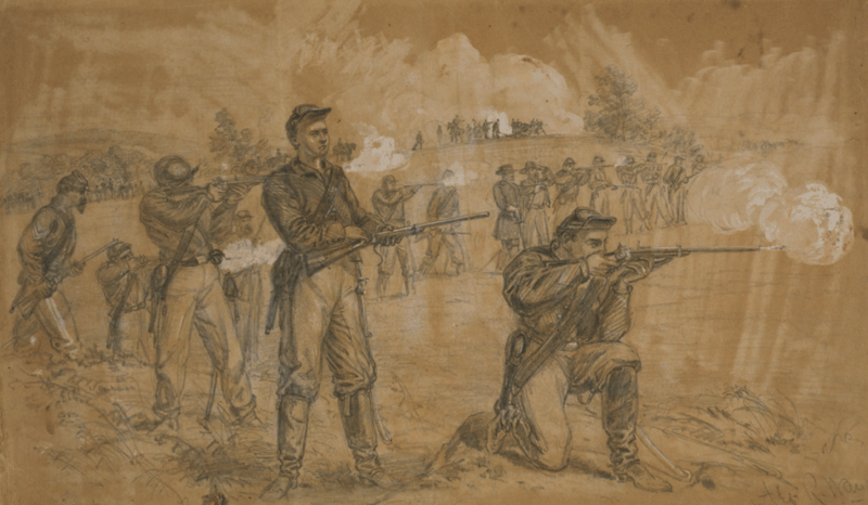 Union soldiers loading and shooting Spencer Rifles
