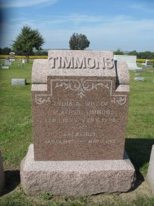 Timmons headstone in Malvern Cemetery