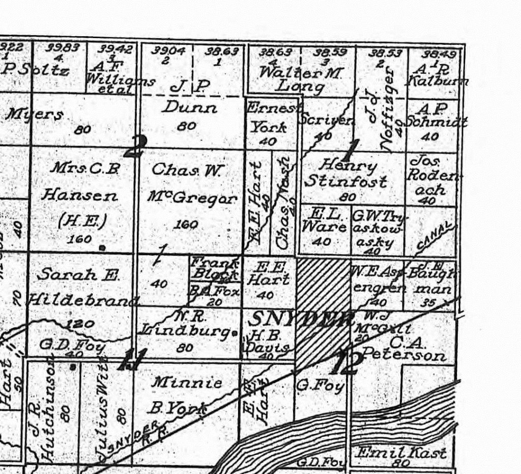 1913 land ownership map, Snyder area, Colorado