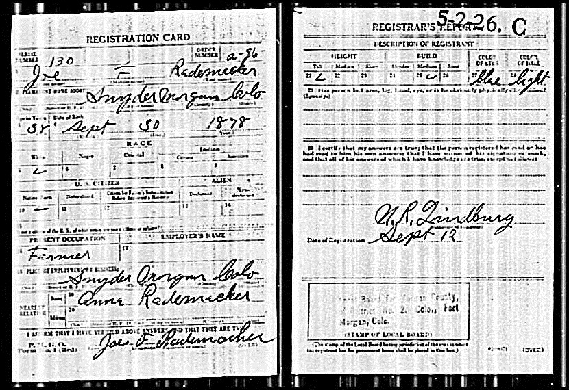 Joe Rademacher's WWI Draft Card