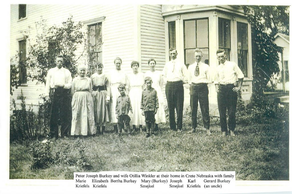 From left: Joseph and Ottilia Burkey, Marie Kreifels, Elizabeth Kreifels, Bertha Burkey, Mary Burkey Smejkal, Joseph Smejkal, Carl Kreifels and Gerard Burkey.