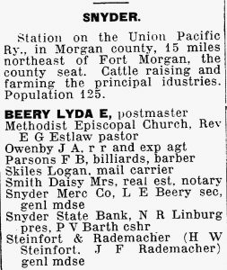 1920 Business Directory listings for Snyder, Colorado