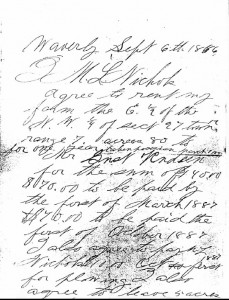 Gust Rudeen 1886 lease agreement - click to enlarge