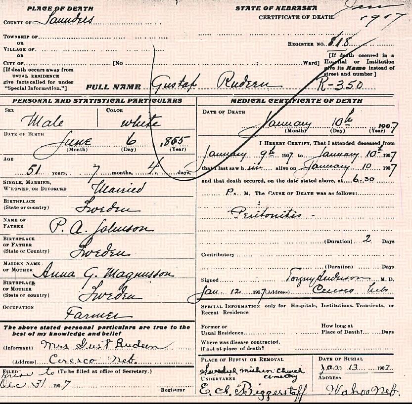 Gust Rudeen Death Certificate