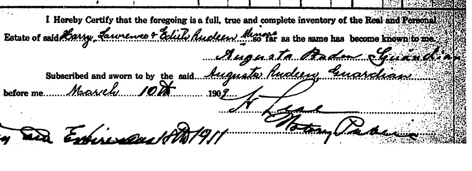 Augusta's signature on final estate settlement