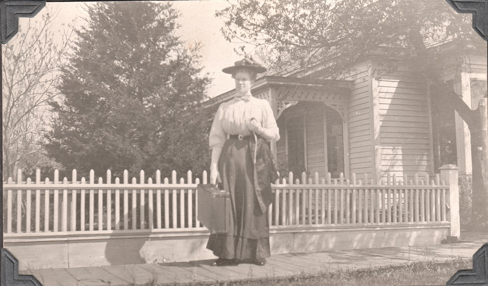 Aunt Lena in front of Johanna's house in Weston, ca. 1910