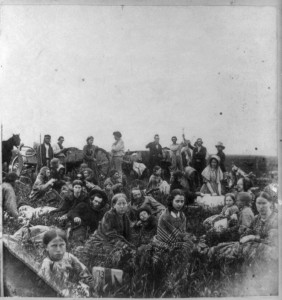 Refugees escaping the Dakota War of 1862