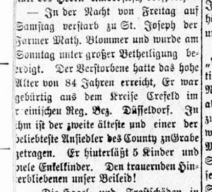 Mathias Blommer Obituary, printed on July 23, 1884