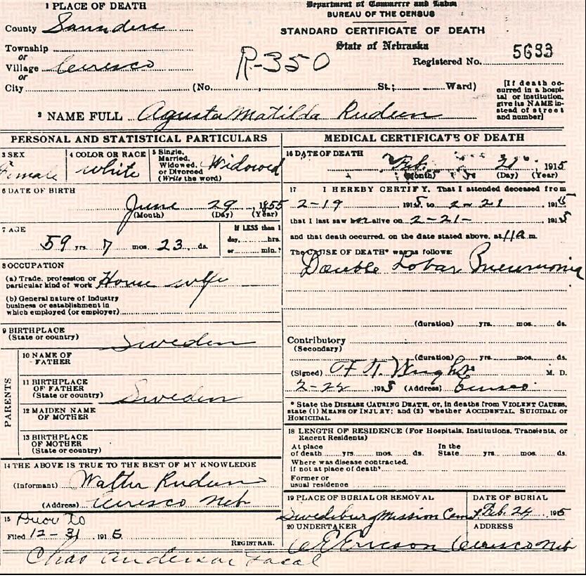 Augusta Matilda (Gustafsdotter)Rudeen Death Certificate