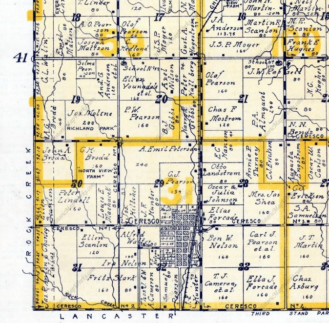 1916 Atlas of Saunders County, Richland Precinct