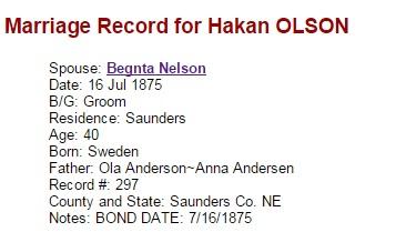 Håkan Olson and Bengta Nelson wedding record