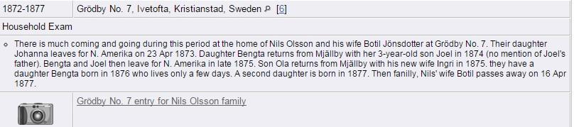 Transcription of Household Record for Nils Olsson family, 1872-1877