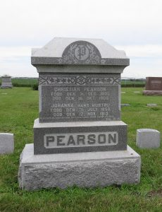 Christian and Johanna Pearson tombstone, Weston, NE