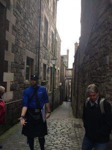 "A narrow ""close"" inside Old Edinburgh."
