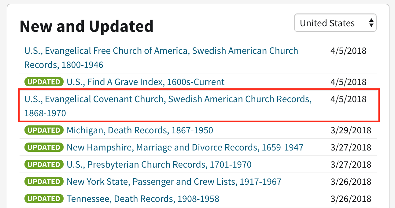 Covenant Church Records In Ancestry